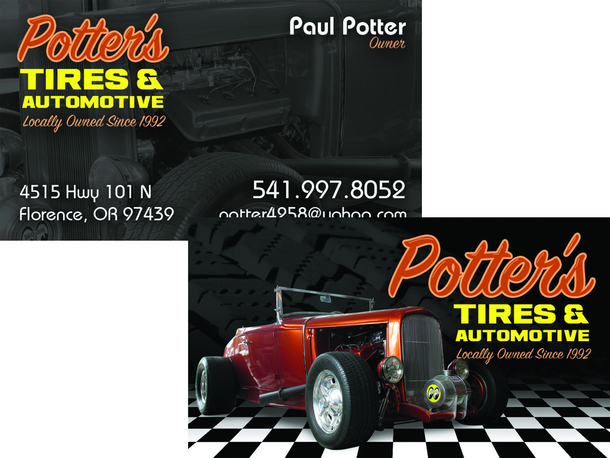 Potter\'s Tires & Automotive - Business Card - WestCoast Media Group