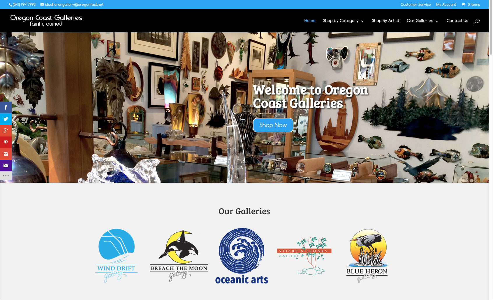 Oregon Coast Galleries – Ecommerce Website