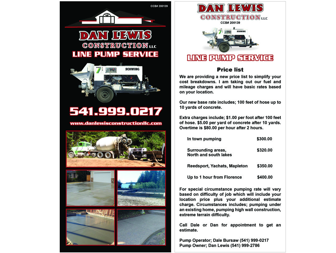 Dan Lewis Construction – Line Pump Rack Card