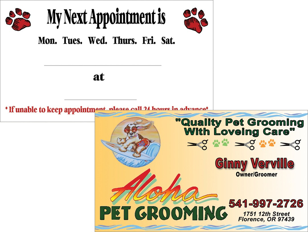 Aloha Pet Grooming - Business Card - WestCoast Media Group