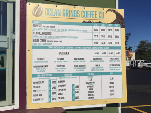 Ocean Grinds Coffee Co. – Menu Sign