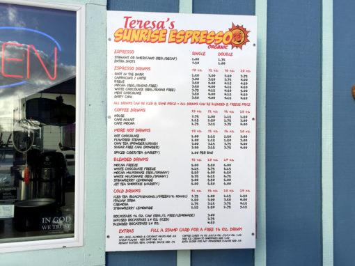 Teresa's Sunrise Espresso – Menu Sign