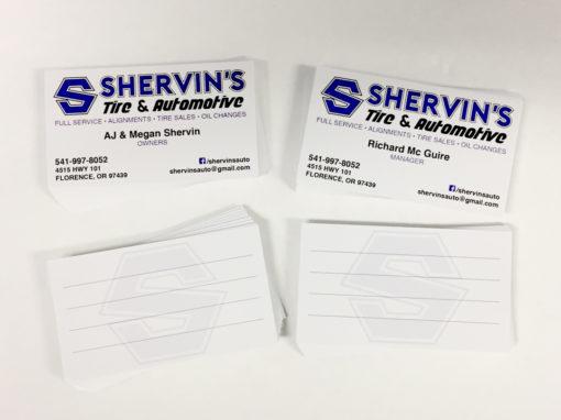 Shervin's Automotive – Business Cards