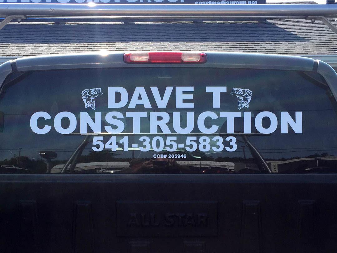 Dave T Construction – Vinyl Lettering